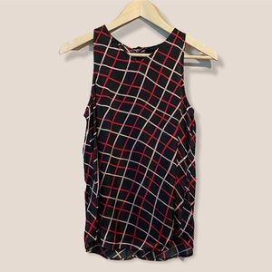 Sanctuary Silky Black Red + Pink Patterned Top